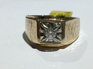#158 10K MENS YELLOW & WHITE GOLD DIAMOND SOLITAIRE 0.24CT! *SIZE 11* JUST BACK FROM APPRAISAL AT $2350.00!