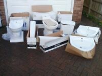 JOB LOT - TOILET, CISTERN, BIDET, WASH BASINS, PEDESTALS (WHITE)