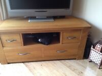 Beautiful and Cared For TV Stand - Solid Oak Next Cambridge® Light Corner TV Unit For Sale