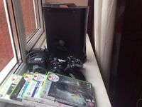 Xbox 360, two controllers, 160gb + games