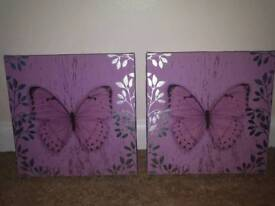 BUTTERFLY CANVAS PRINTS X2