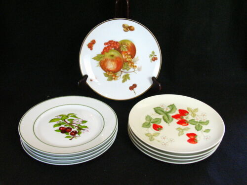 Vintage 9 Salad Plates Horchow Japan Strawberry KWM and Debra Fruits W. Germany