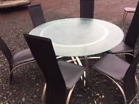 WOW, Large round frosted volcanic glass top dining table & six high back chairs