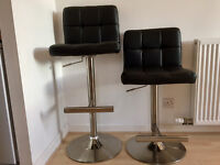 Pair of Breakfast / Bar Stools in Black with Brushed Chrome Finish