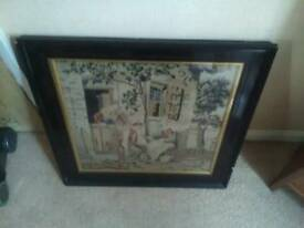 Antique tapestry in frame