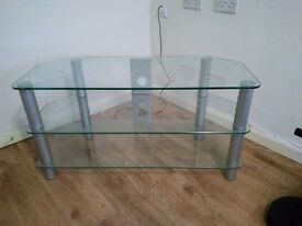 Clear glass T.V. stand