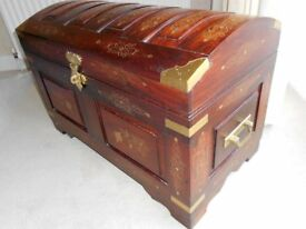 Brass Inlaid Mahogany Chest