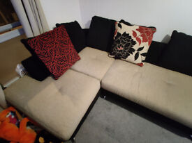 Black Base Beige lined(cushioned) 4 Seater L Shape Couch - 7 Pillow 60x60