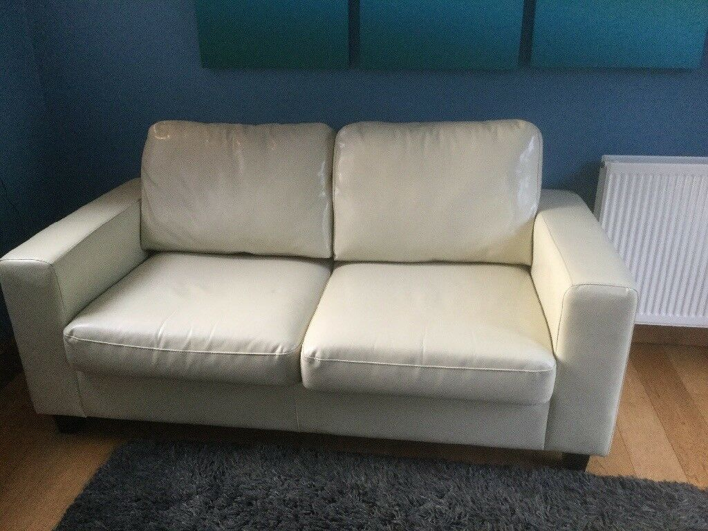 Cream Leather Sofa Bed As New