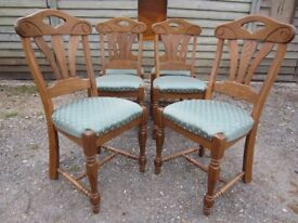 Gorgeous Set of Six Belgian Solid Oak Karel Mintjens Dining Chairs....including Carvers (4+2)