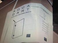 Aqua dart clear glass silver framed side fixed panel walk in shower enclosure with tray