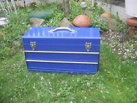 Metal tool box and 2 metal storage boxes