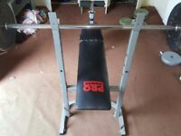Barbell Press Bench for Home Exercise , dumbbell and plates , tyres scrap metal