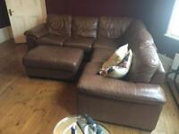 DFS Leather Corner Suite & Footstool