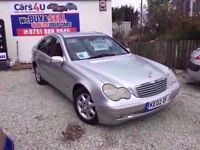 02 MERCEDES C CLASS C180 2.0 PETROL AUTOMATIC IN SILVER *PX WELCOME* MOT TILL MARCH 2018 £850