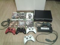 Black XBOX 360 120GB + 6 games + 3 controllers ONO