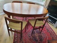 Vintage Nathan extending dining table with 4 matching Meredew dining chairs