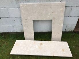 Marble Fire surround and base (Cream)