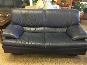 Leather Sofa and Love Seat (Oxford Blue/Indigo)