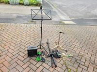 Microphone stand, guitar stand, music stand, 10w practice amp plus cables