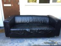 Black leather Sofa/Couch 2 seater
