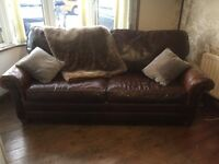 Fabulous Quality Antique Brown Leather Sofa Bed