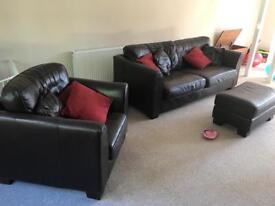 Brown leather large sofa and chair/footstool