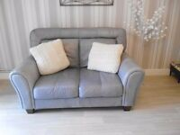 2 x very Good quality matching soft grey leather 2 seater sofas in VGC £95