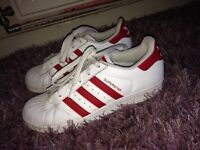 Adidas white and red superstars