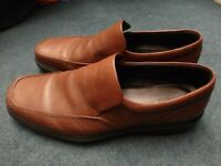 Mens Hotter shoes - slip-on brown tan leather - size UK 12 Hotter