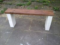 (5) thick block leg garden bench aprox 4- 5ft heavy- reclaimed wood protected weather proof paint