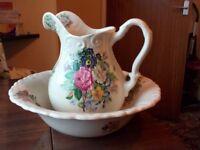 Matching decorative water Jug & wash bowl