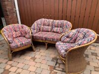 Cane furniture set for conservatory/patio