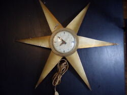 Vintage Mid-Century Domed Atomic Wall Clock, Starburst Glass /Metal, Ex. Working