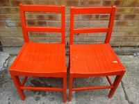 2 x red painted chairs £15 pair