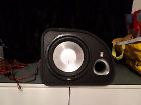 """1200watt Sub amp and wiring kit, FLI Trap ft12a-f6 12"""" Active Subwoofer"""