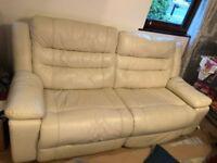 Cream Leather Recliner Sofa (3 Seater)