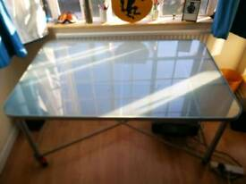 Large Work Desk Frosted Glass Grey Metal