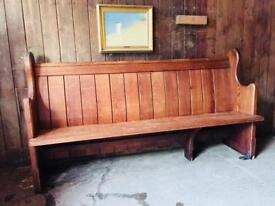 Antique Victorian Carved Solid Pitch Pine Pew Settle