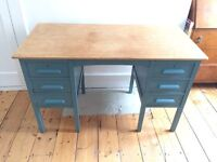 Solid wood painted desk with 5 draws