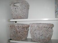 3 X GREY OVAL STORAGE BASKETS HEAVY DUTY WICKER
