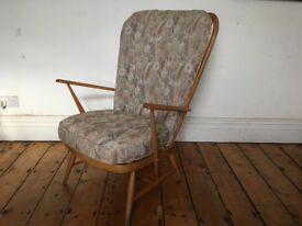 Ercol Blonde Vintage Evergreen Grandfather Armchair 1950s