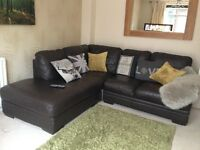 Harvey's brown leather right corner settee
