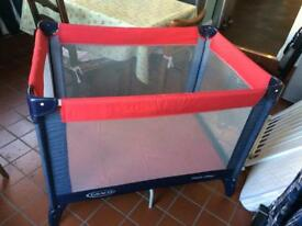 Graco Pack n Play travel cot red and denim navy good condition