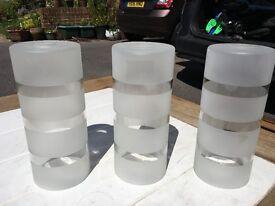 3 Glass cylinder lamp shades