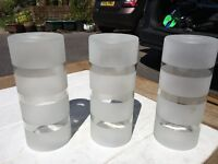 3 Glass cylinder lamp shades