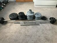 Dumbell and barbell bars with weights and clips