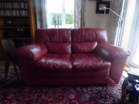 2-Seater and 3-Seater Red Leather Sofas
