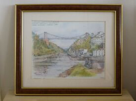Lovely print of suspension bridge by Vernon.