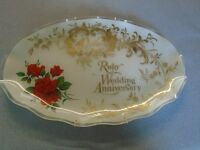 RUBY WEDDING ANNIVERSARY GLASS PLAQUE